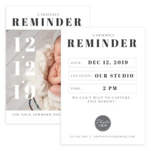 Photography session reminder template