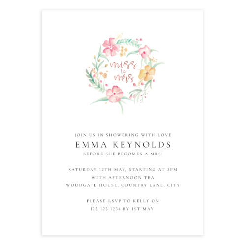 Floral Bridal Shower Invitation Template