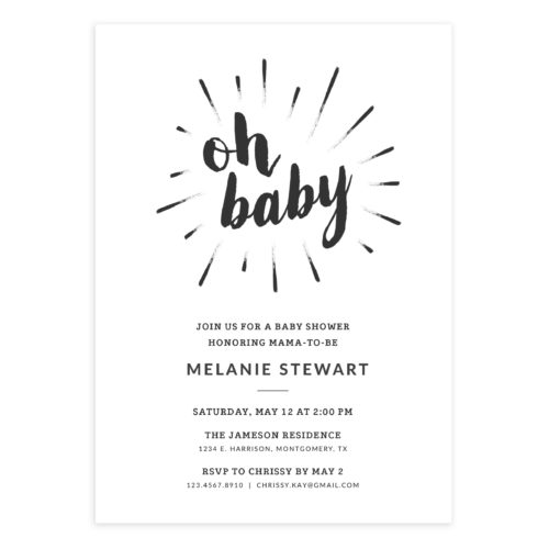 Baby Shower Invite, size 5X7