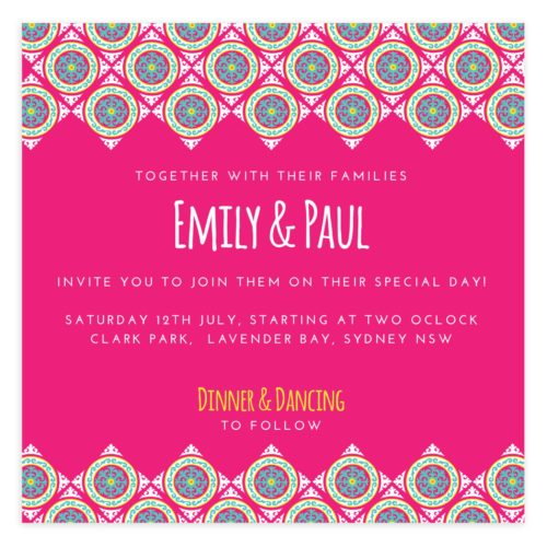 Pink Wedding Invitation Template PSD
