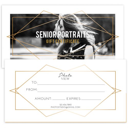 Senior Photography Gift Certificate Template
