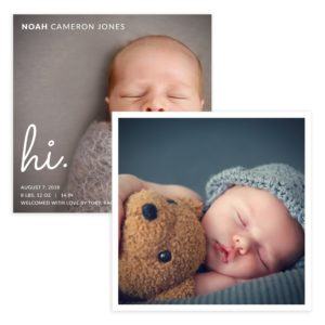 Hi Baby 5 X 5 Birth Announcement Card
