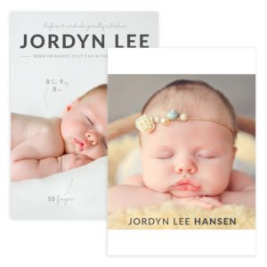 newborn photo card template for photography