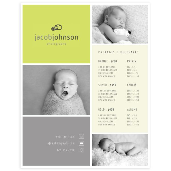 Price Guide Template for Photographers in PSD