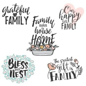 Family Word Art Overlays PNG