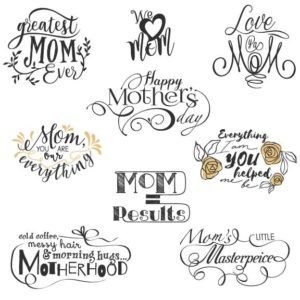 Mothers Day Word Art Overlays