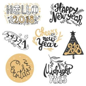 New Year Word Art Overlays 2018