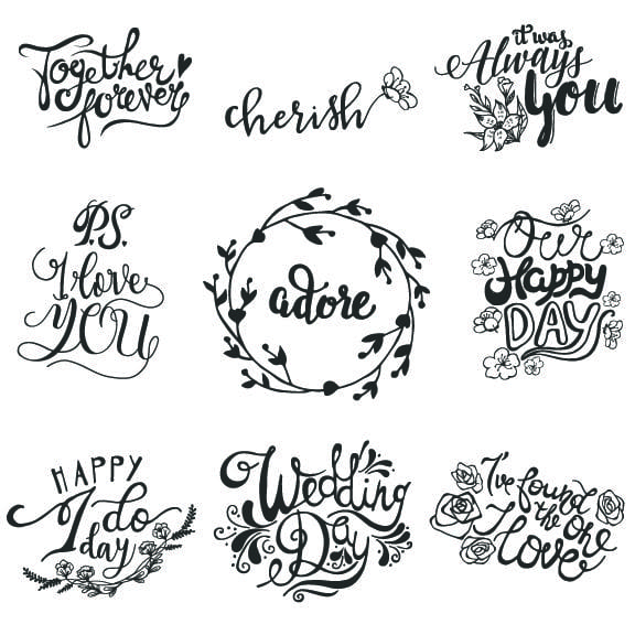 Wedding Word Art Overlays