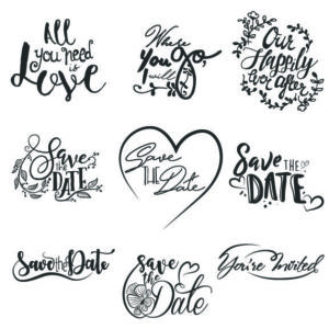 Wedding word art lettering for design