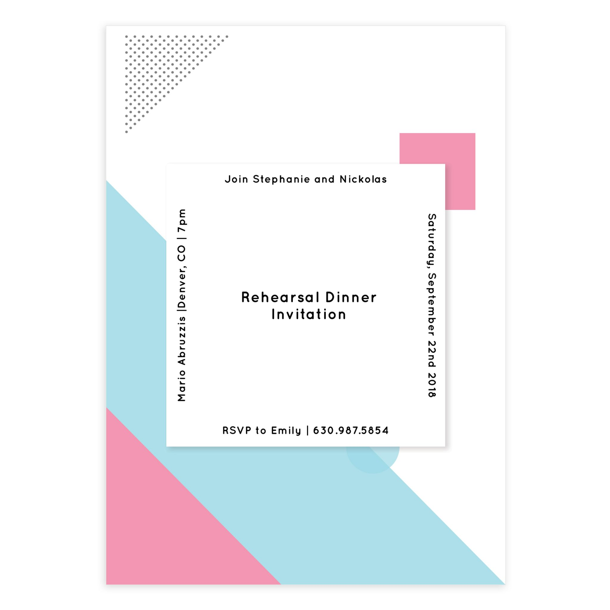 Bauhaus Wedding Rehearsal Invitation 5x7
