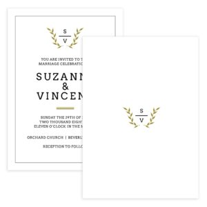 Classic Monogram Wedding Invitation template