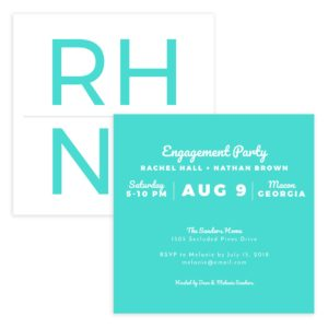 Turquoise Engagement Part Invite PSD Template
