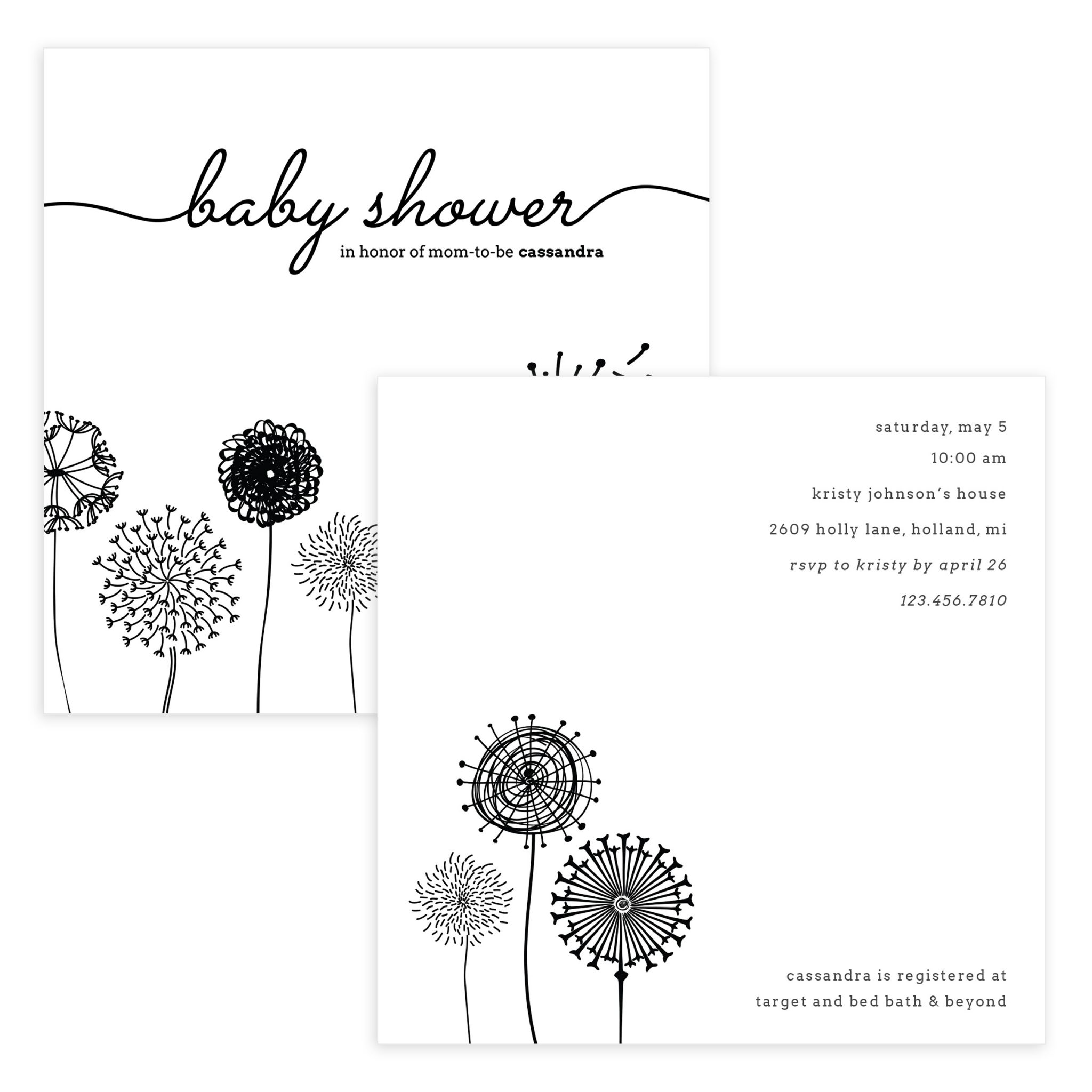 Baby Shower Invite Photoshop Template