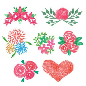Floral Watercolor Elements PNG for Scrapbooking