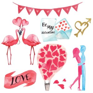 Valentine's Day Watercolor Elements