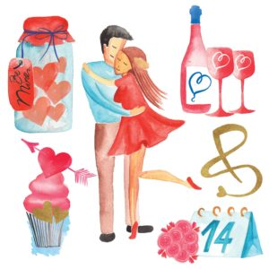 Valentine's Day Watercolor elements for designers