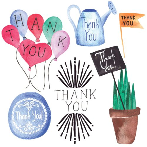 Thank you watercolor elements