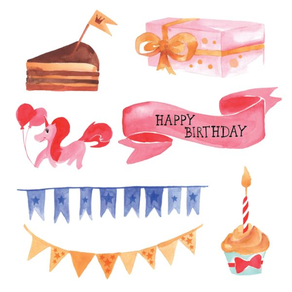 Watercolor Birthday elements for scrapbooking