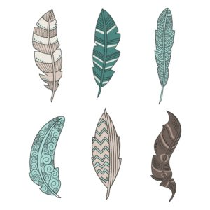 Colored PNG Feathers for Digital Scrapbooking