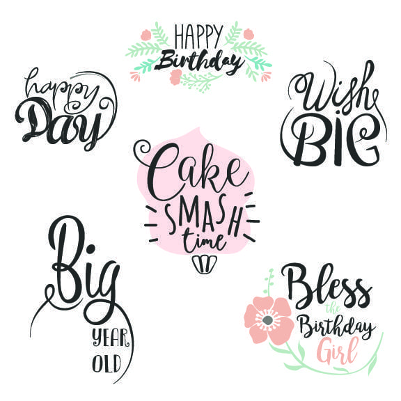 Happy Birthday word Art Overlays