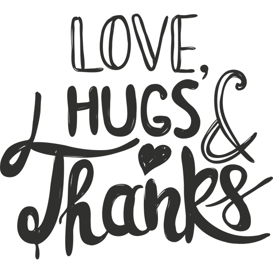 Love Hugs and Thanks Word Art
