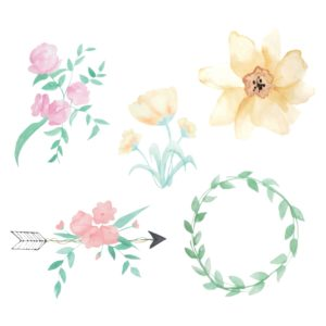 Watercolor Flower Design Elements