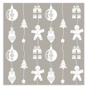 Christmas Background with Ornaments in white