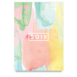 watercolor 2019 new year card template