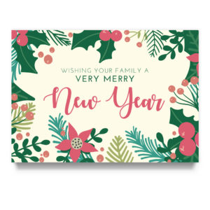 floral new year card template
