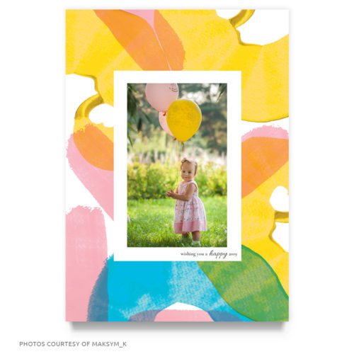 colorful new year card template