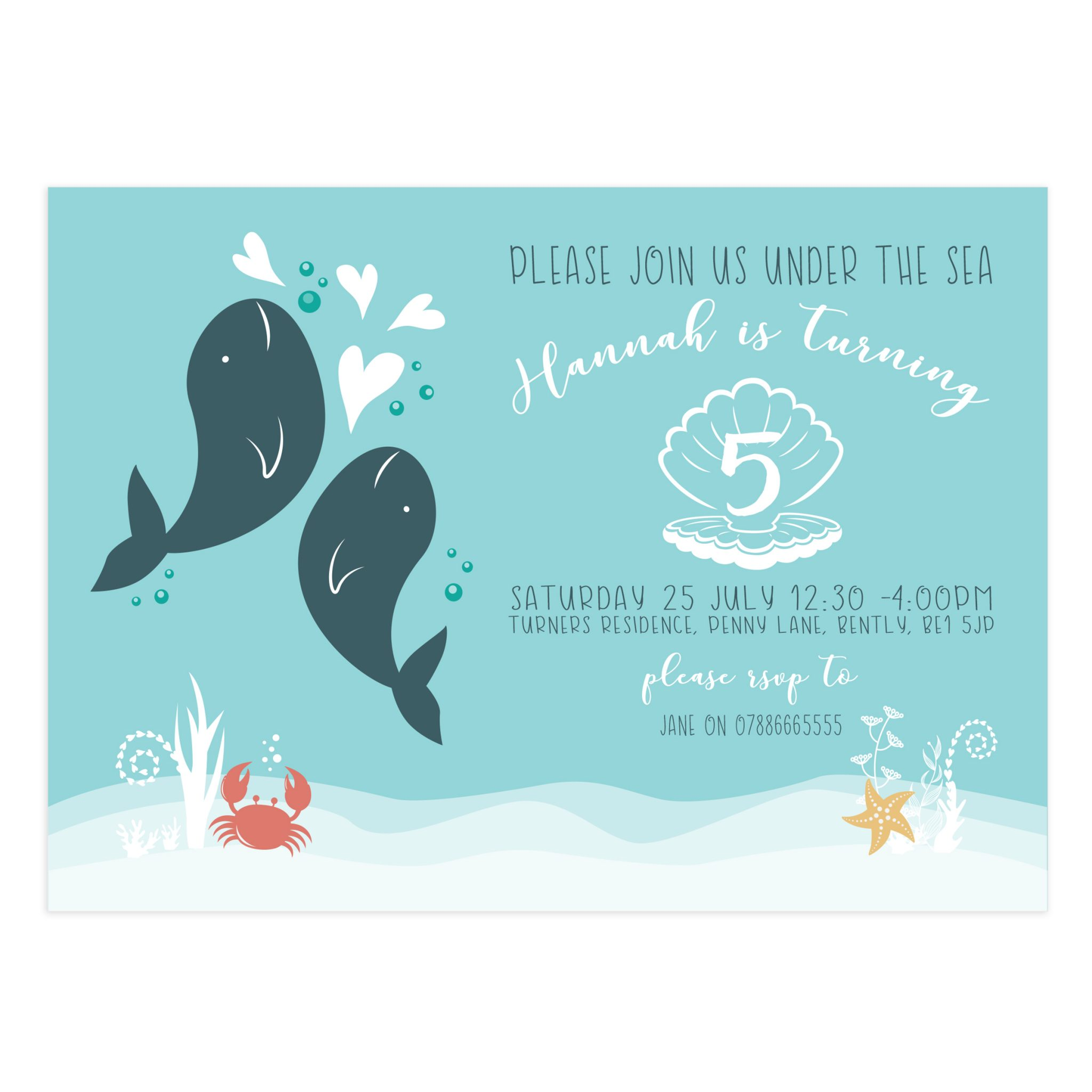 Under The Sea Birthday Party Invitation 5X7