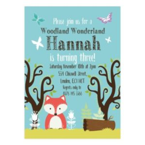 Woodland Onederland Invitations