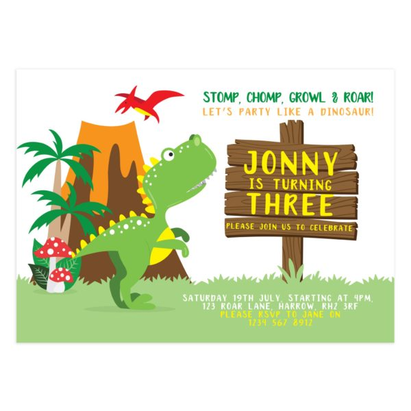 Party Like A Dinosaur Birthday Card Template