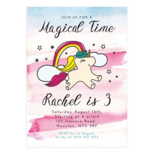 Unicorn Birthday Invitation Card