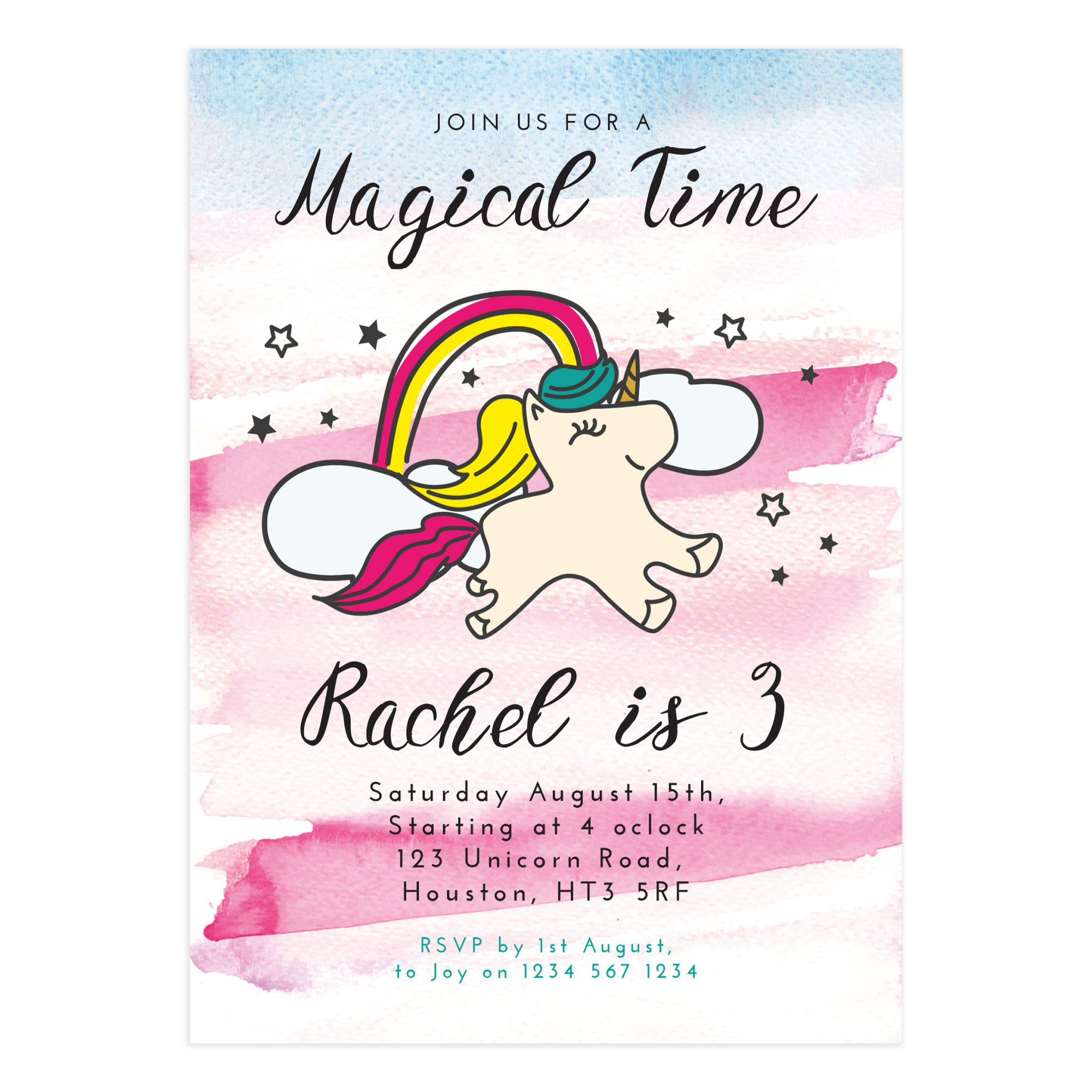 Unicorn Birthday Party Invitation Card - Mockaroon