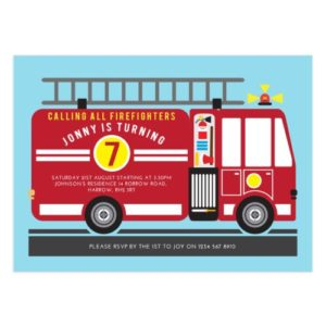 firetruck birthday party set of printable templates for creatives