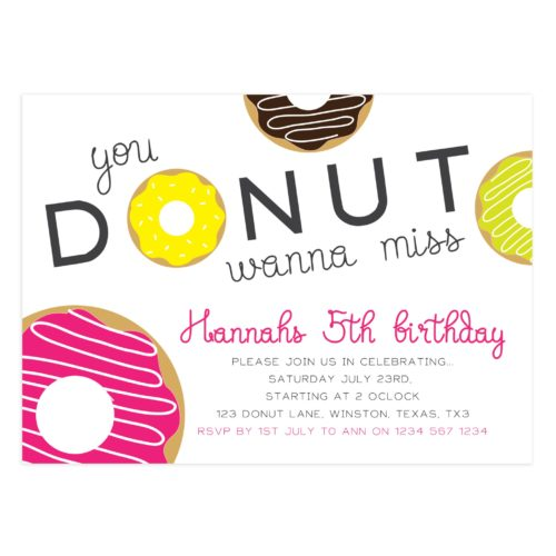 Donut Birthday Party Invitation Card 5x7