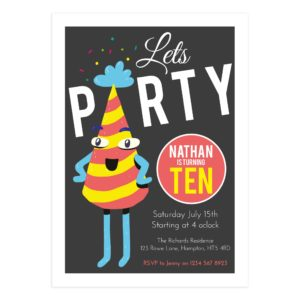 "Birthday Party ""Lets Party"" Card Template"