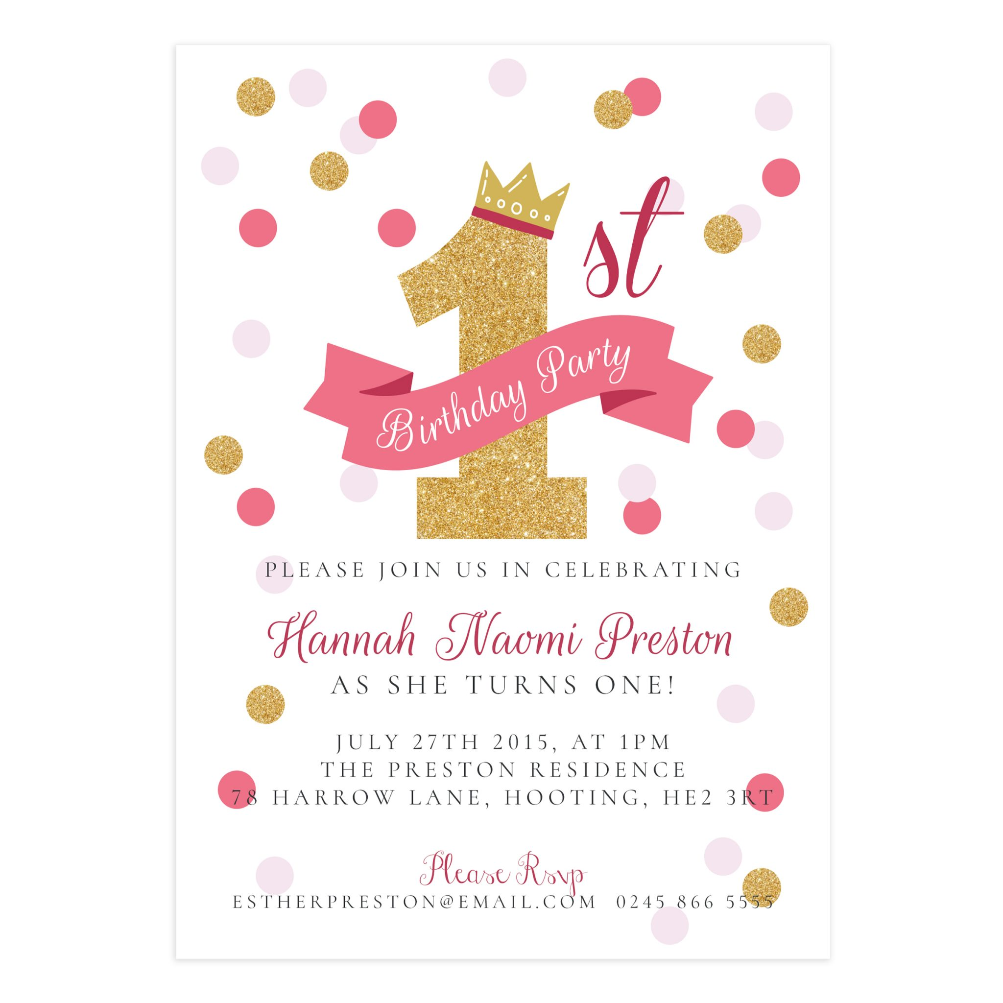 Golden Birthday Invitation 5X7