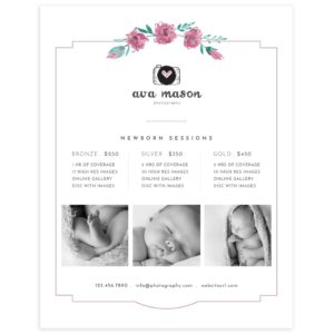 Newborn Photography Price Guide Template
