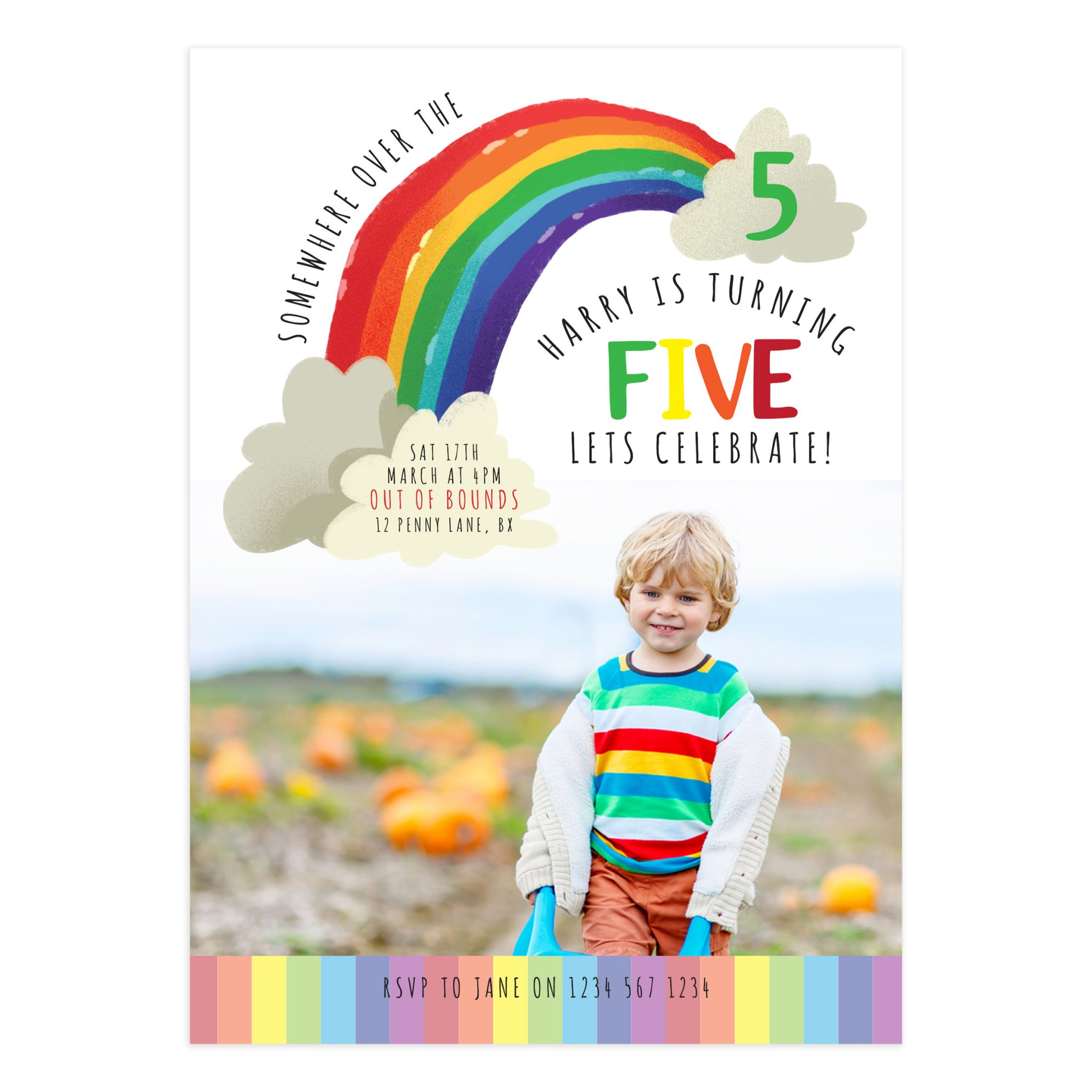 Rainbow Birthday Invitation Card 5X7