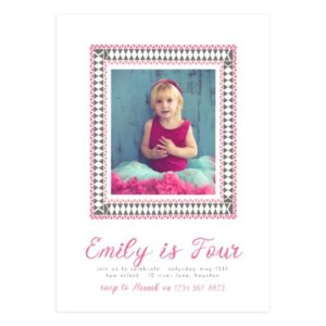 Piink Framed Birthday Party Invite Template