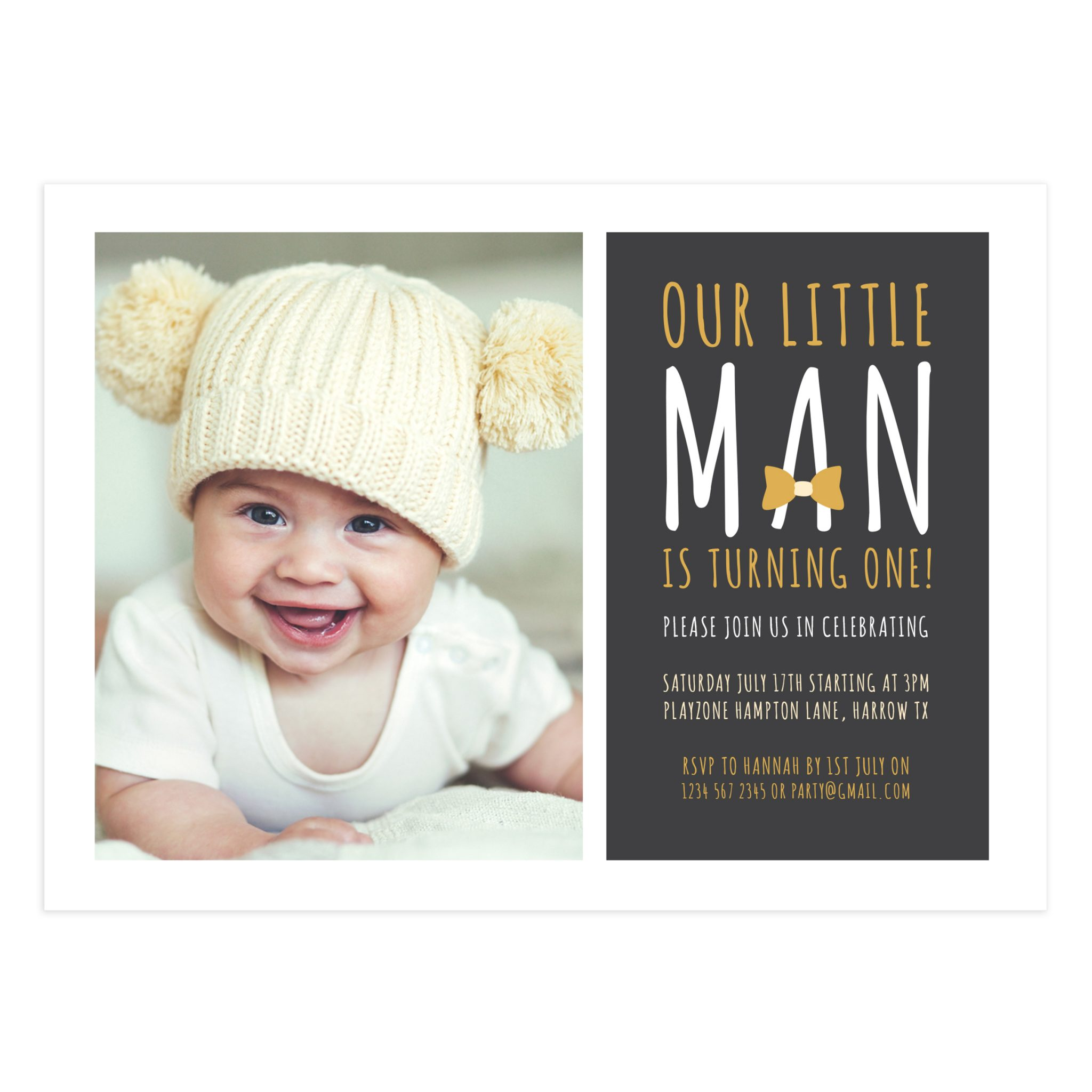 Printable LittleMan Birthday Party Card Invitation - Mockaroon