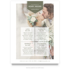 wedding collection price guide template