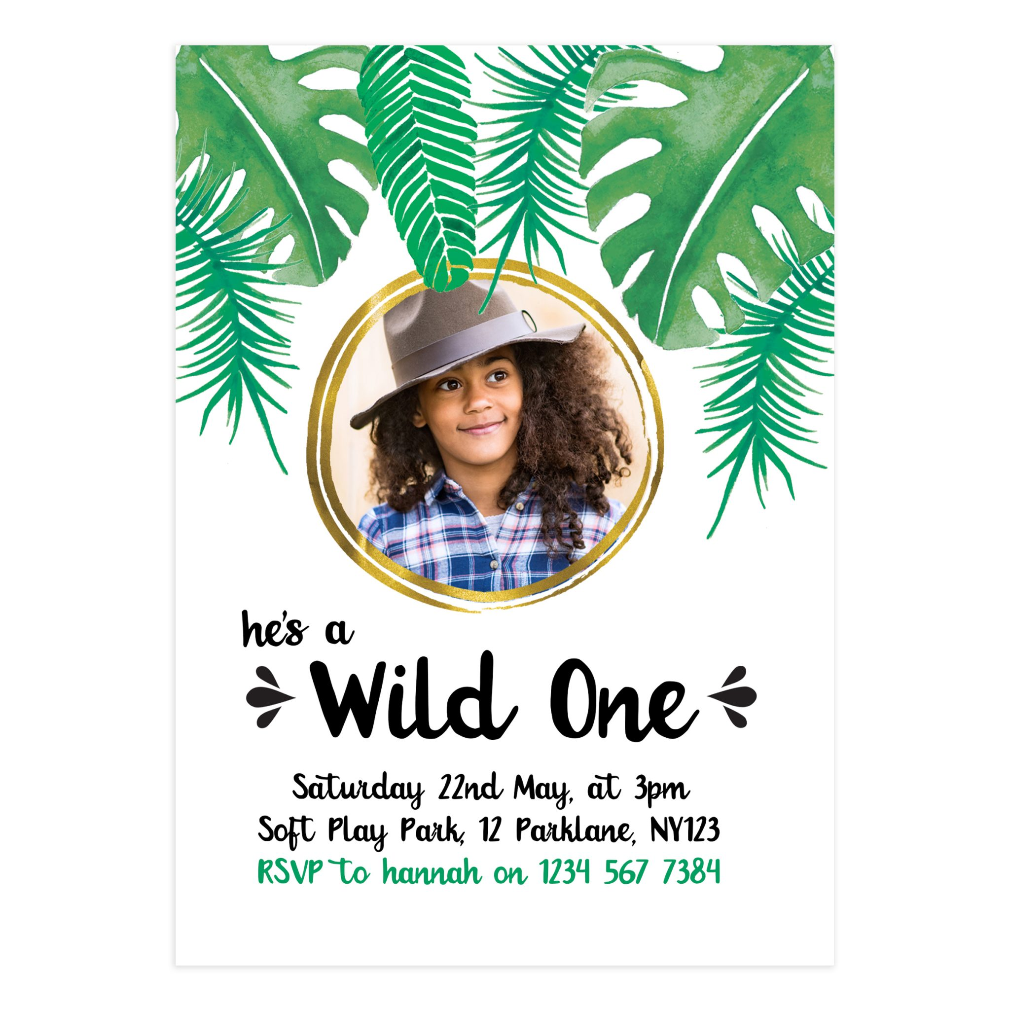 Printable Wild One Party Invitation Card - Mockaroon
