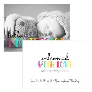 Colorful newborn announcement card