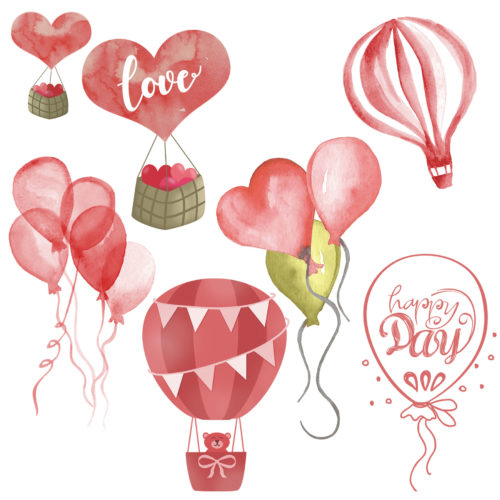 Watercolor Balloon Elements for designers