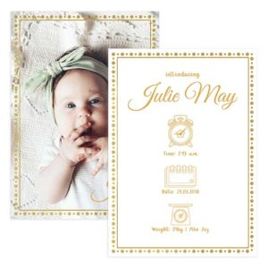 Golden Foil Birth Announcement Template for Photographers