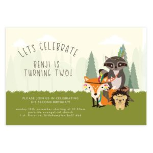 woodland friends birthday party invite template