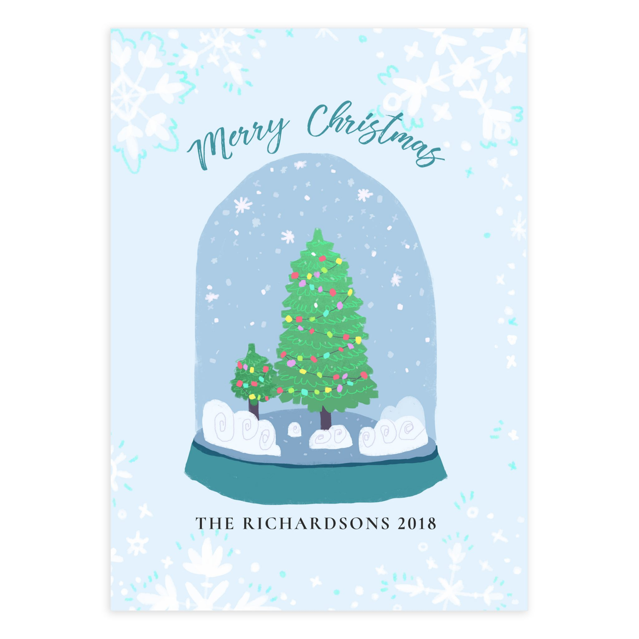 graphic relating to Printable Christmas Cards Templates identified as Snow planet printable Xmas Card - Mockaroon